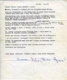 List od Shoshany Golan (Róży Bejman) do sióstr Dudziak: Władysławy, Wandy, Marianny i Janiny, 10. sierpnia 1978 rok.