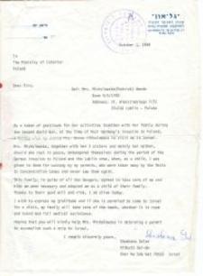 An invitation for Wanda Michalewska sent by Shoshana Golan (Róża Bejman).