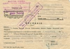 A summons from the Central Commission for the Investigation of Nazi Crimes for Weronika Stefaniuk, 4.09.1986..