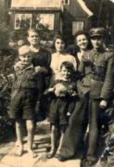Lidia Hobbs (Damm) with the Trzeciak family, after the liberation.