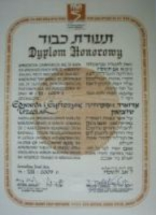 The diploma from the Yad Vashem Institute for Edward and Eufrozyna Trzeciak