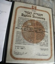 The diploma from the Yad Vashem Institute for Mironiuk family
