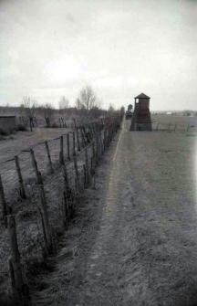 Ogrodzenie wzdłuż pól więźniarskich na terenie byłego obozu koncentracyjnego na Majdanku