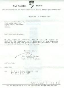 List od Yad Vashem do Danuty Mikulskiej-Renk