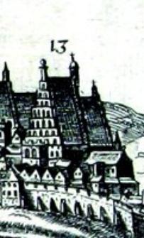Kościół oo. Dominikanów w Lublinie - fragment Widoku Lublina Hogenberga i Brauna