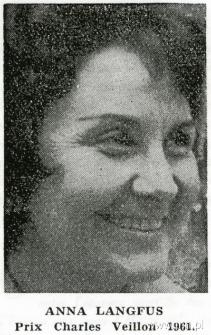 Anna Langfus, laureatka Prix Charles Veillon, 1961