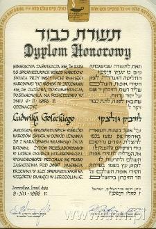 Dyplom przyznany Ludwikowi Goleckiemu