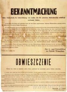 Ogłoszenie o karze śmierci za pomoc Żydom