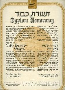 Dyplom przyznany Zofii Patyrze - Szemro