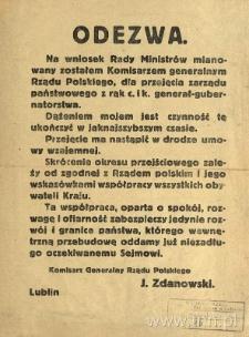 Odezwa Komisarza Juliusza Zdanowskiego