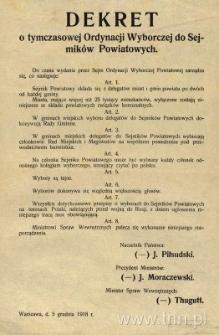 Dekret o tymczasowej Ordynacji Wyborczej do Sejmików Powiatowych