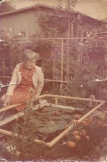 Zofia Grzesiak in her allotment garden near Sławinek