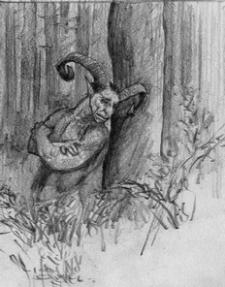 Diabeł leśny - grafika autorstwa Roberta Sawy
