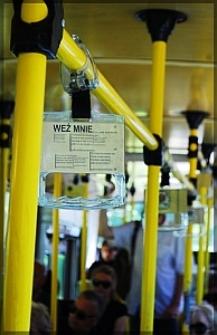 Wnętrze trolejbusu Miasta Poezji