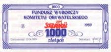 """Fundusz Wyborczy Komitetu Obywatelskiego """"Solidarność"""" 1000 zł [awers]"""