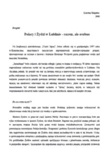 Polacy i Żydzi w Lublinie - razem, ale osobno