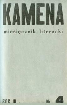 Kamena : miesięcznik literacki Nr 4 (24), R. III (1935)
