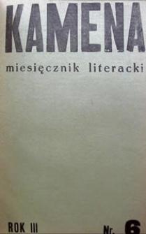 Kamena : miesięcznik literacki Nr 6 (26), R. III (1936)