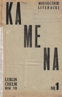Kamena : miesięcznik literacki Nr 1 (61), R. VII (1945)